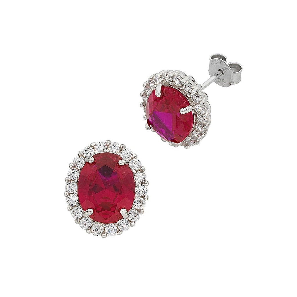 July Birthstone Sterling Silver Dark Pink Cubic Zirconia Earrings Earrings Bevilles