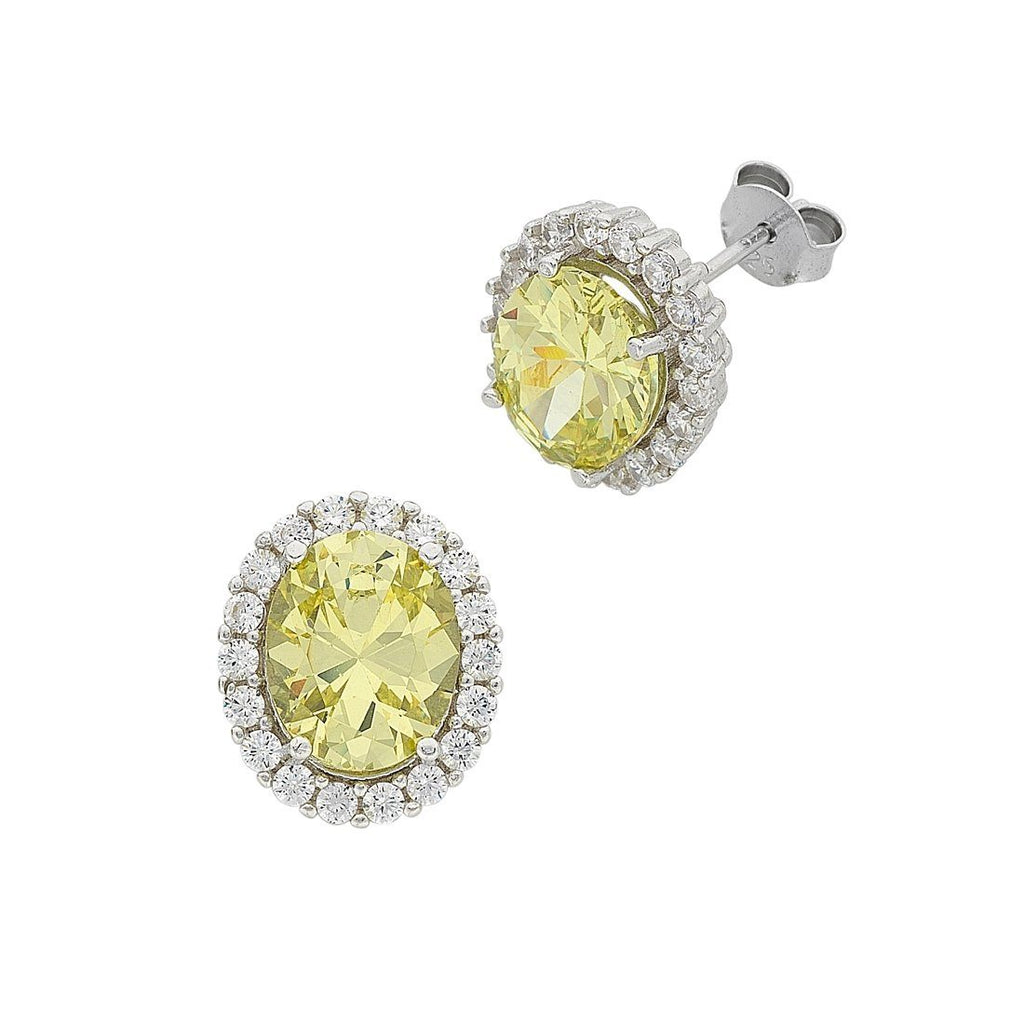 August Birthstone Sterling Silver Light Green Cubic Zirconia Earrings