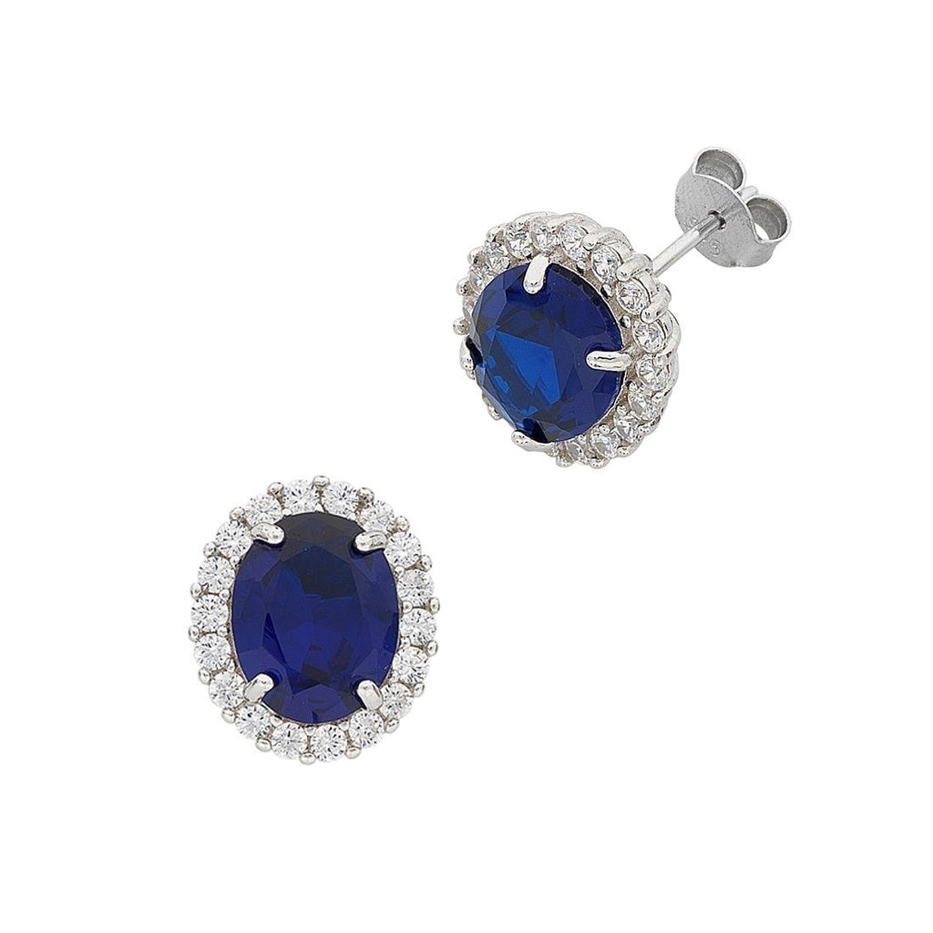 September Birthstone Sterling Silver Dark Blue Cubic Zirconia Earrings
