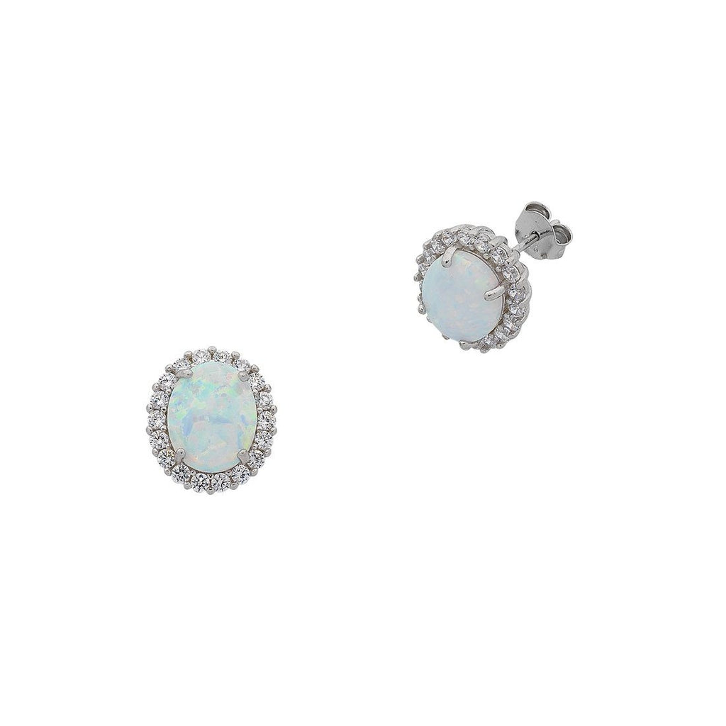 October Birthstone Sterling Silver Oval Synthetic Opal and Cubic Zirconia Earrings
