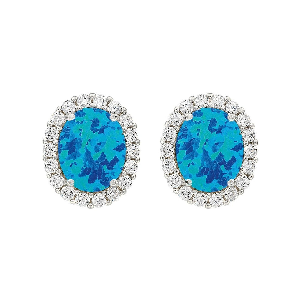 December Birthstone Sterling Silver Dark Blue Synthetic Opal and Cubic Zirconia Earrings