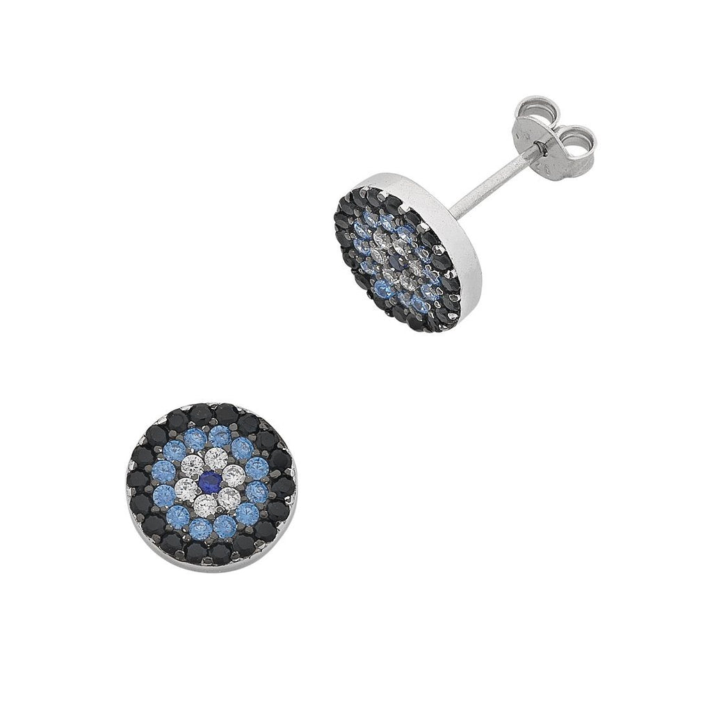 Sterling Silver Cubic Zirconia Evil Eye Stud Earrings Earrings Bevilles