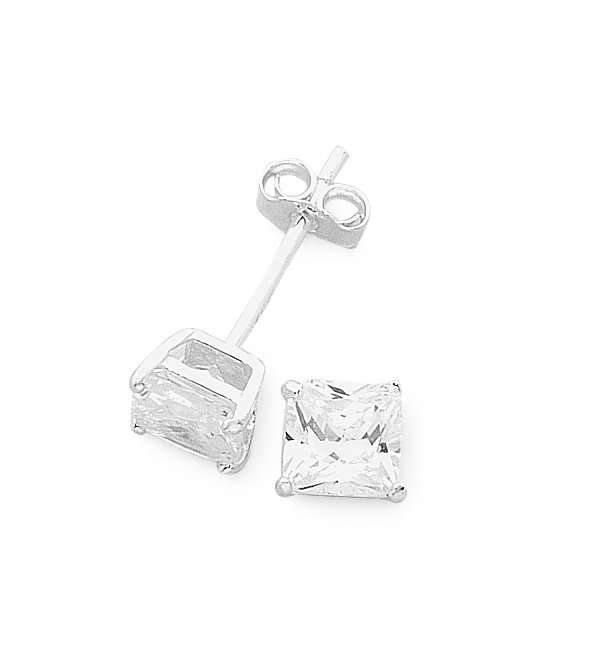 Sterling Silver 3mm Cubic Zirconia Stud Earrings