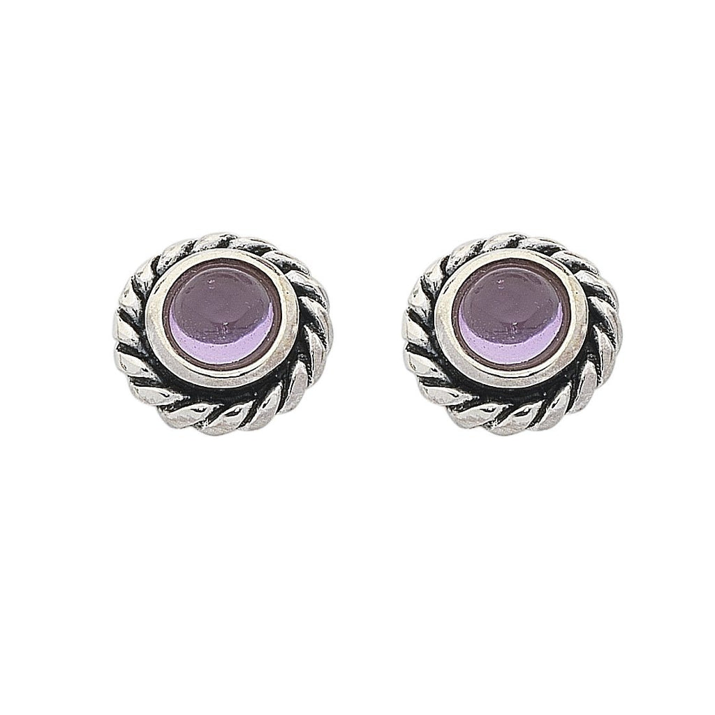 Sterling Silver Amethyst February Birthstone Stud Earrings Earrings Bevilles