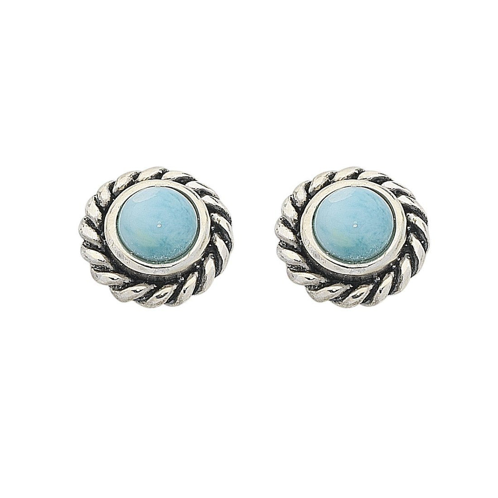 Sterling Silver Larimar March Birthstone Stud Earrings Earrings Bevilles