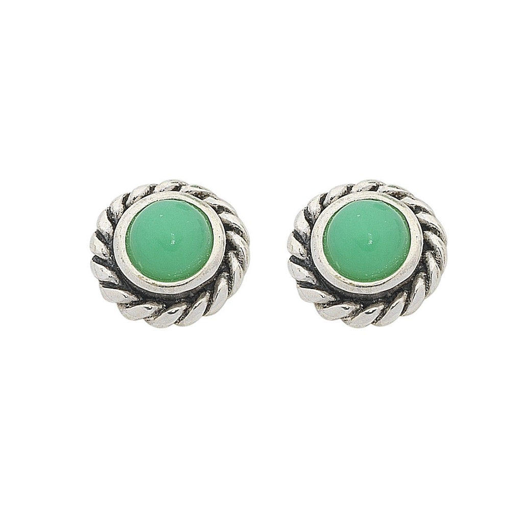 Sterling Silver Chrysoprase May Birthstone Stud Earrings Earrings Bevilles