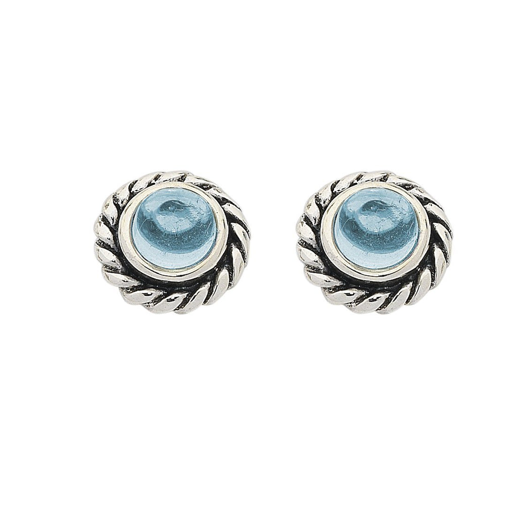 Sterling Silver Blue Topaz November Birthstone Stud Earrings