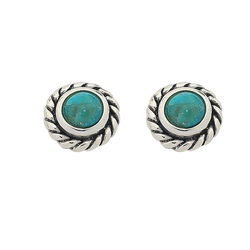 Sterling Silver Turquoise December Birthstone Stud Earrings