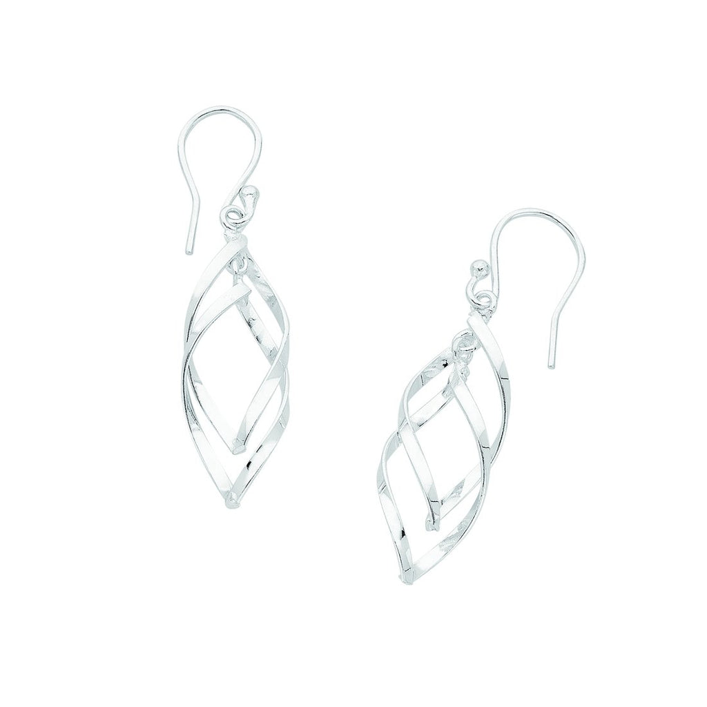 Sterling Silver Open Twist Drop Earrings