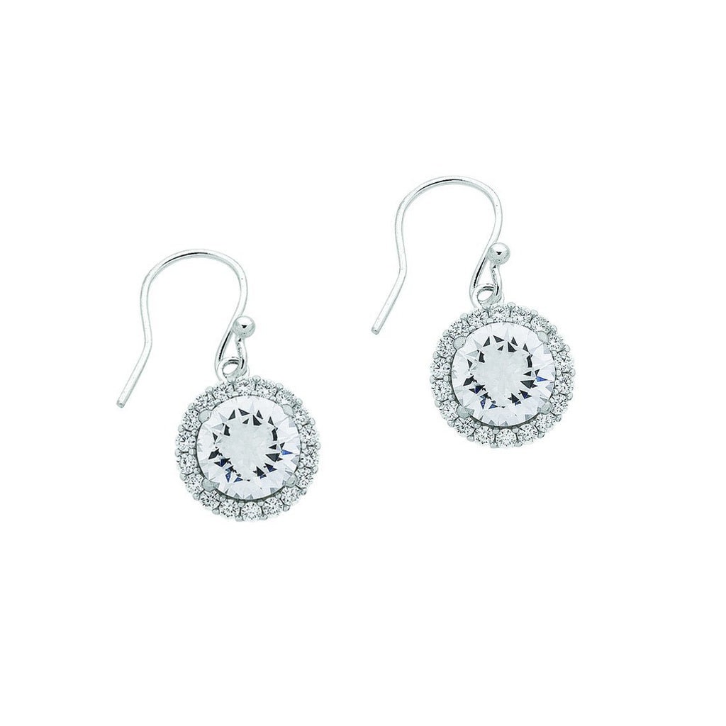 Sterling Silver Cubic Zirconia Halo Hook Earrings Earrings Bevilles