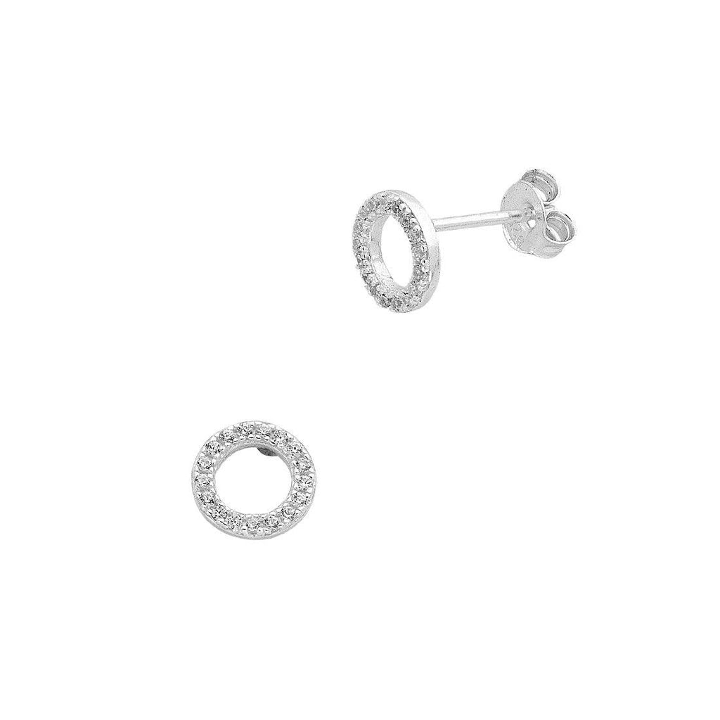 Sterling Silver Cubic Zirconia Open Circle Stud Earrings Earrings Bevilles