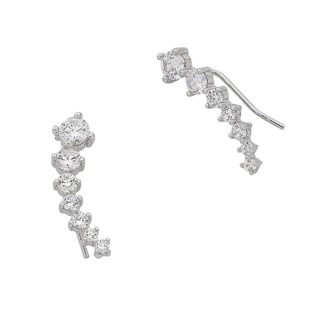 Sterling Silver Cubic Zirconia Curved Climbing Earrings