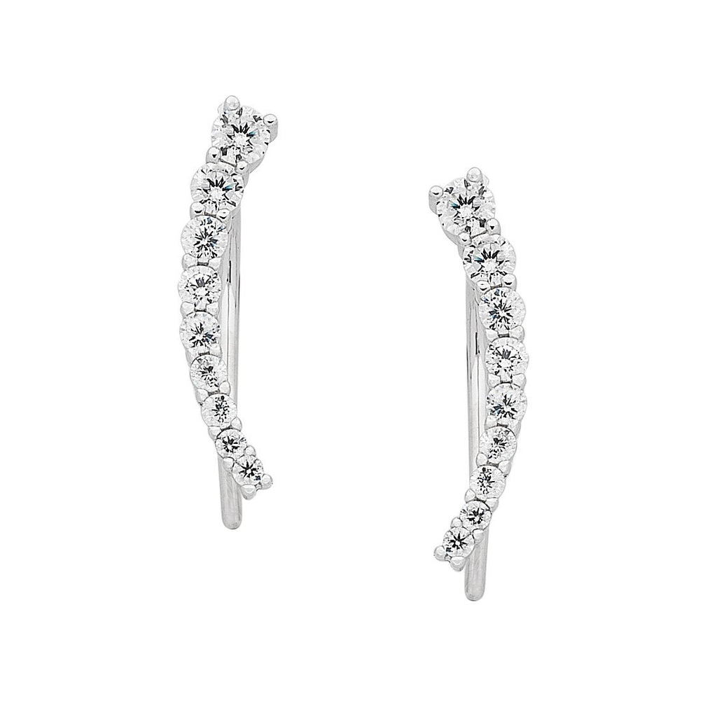 Sterling Silver Curved Climber Earrings Earrings Bevilles