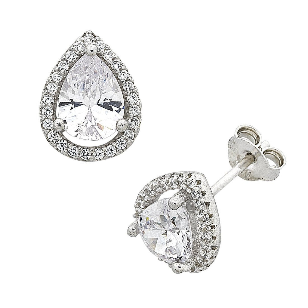 Sterling Silver Pear Cubic Zirconia Halo Stud Earrings
