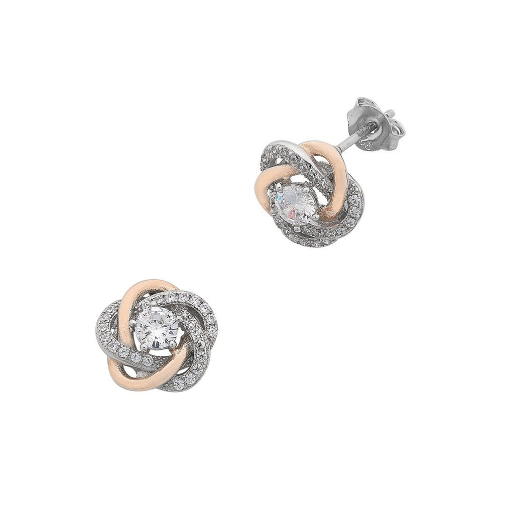 Sterling Silver Cubic Zirconia Swirl Stud Earrings with Rose Accents Earrings Bevilles