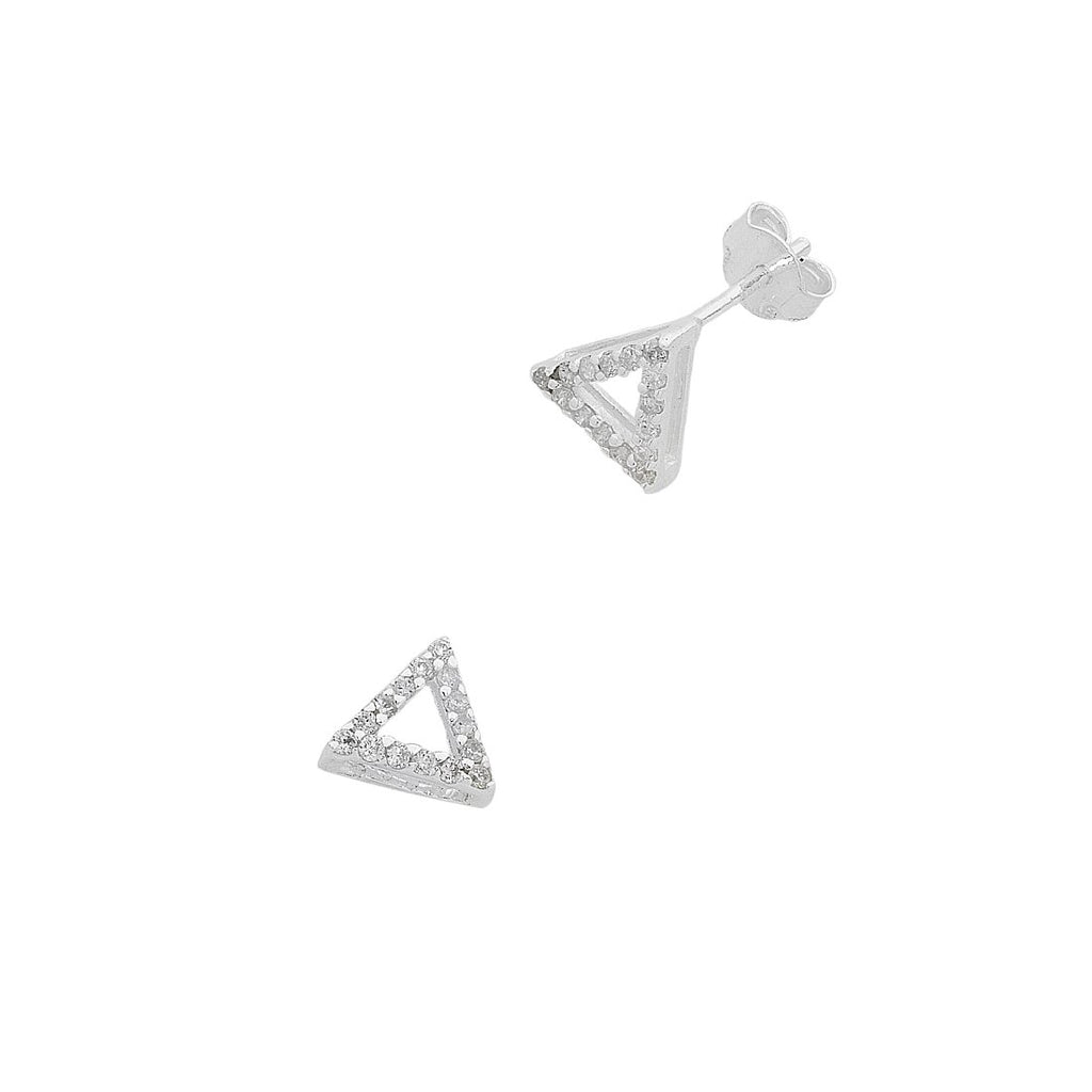 Sterling Silver Cubic Zirconia Open Triangle Stud Earrings