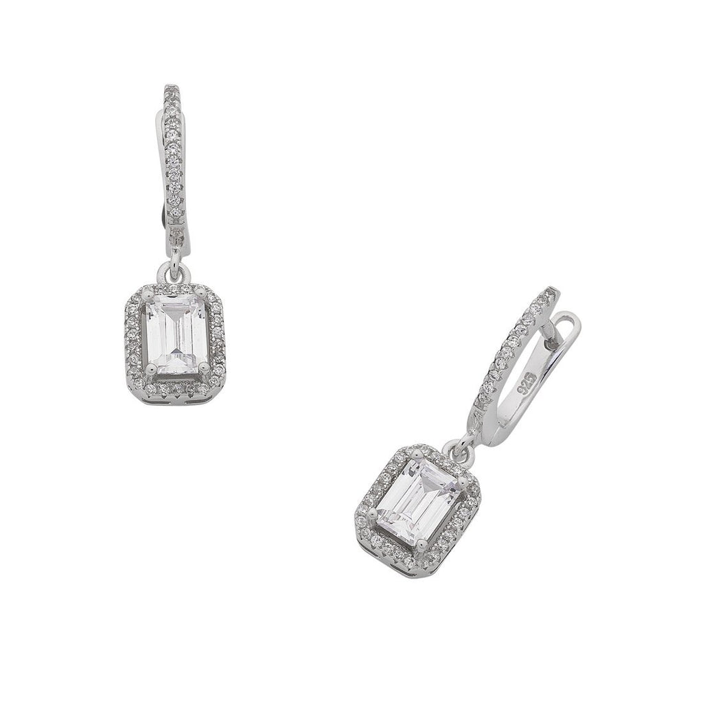 Sterling Silver Cubic Zirconia Baguette Earrings