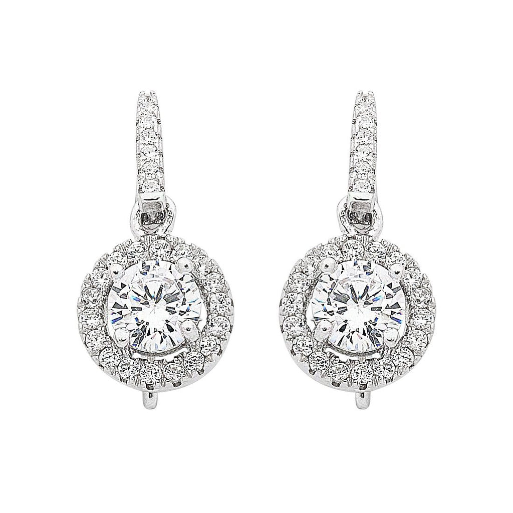Sterling Silver Cubic Zirconia Hook Drop Earrings Earrings Bevilles