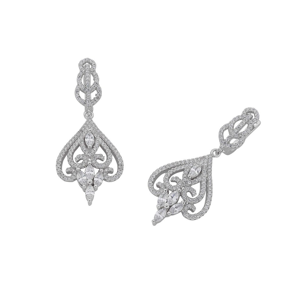 Sterling Silver Cubic Zirconia Inverted Heart Earrings Earrings Bevilles