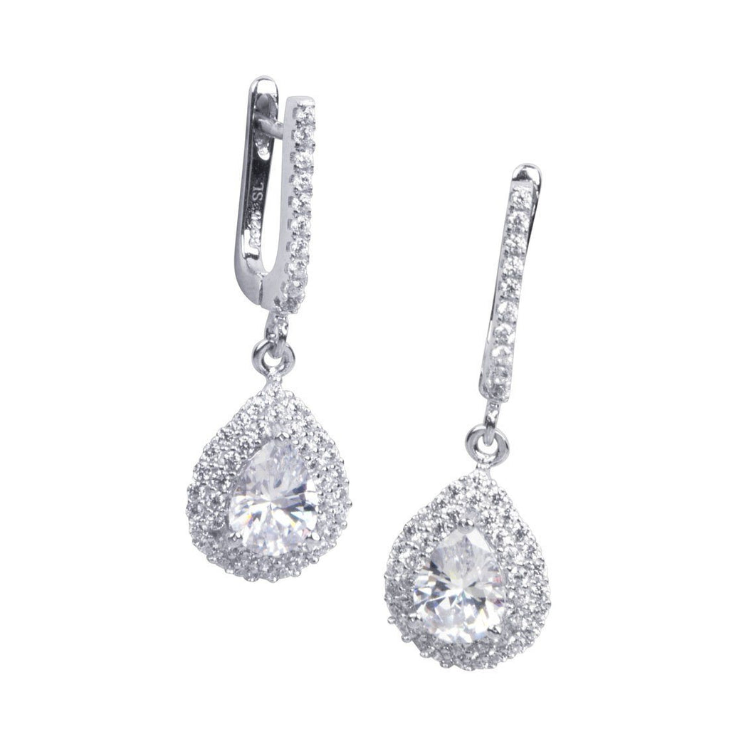 Sterling Silver Pear Drop Earrings with Cubic Zirconia