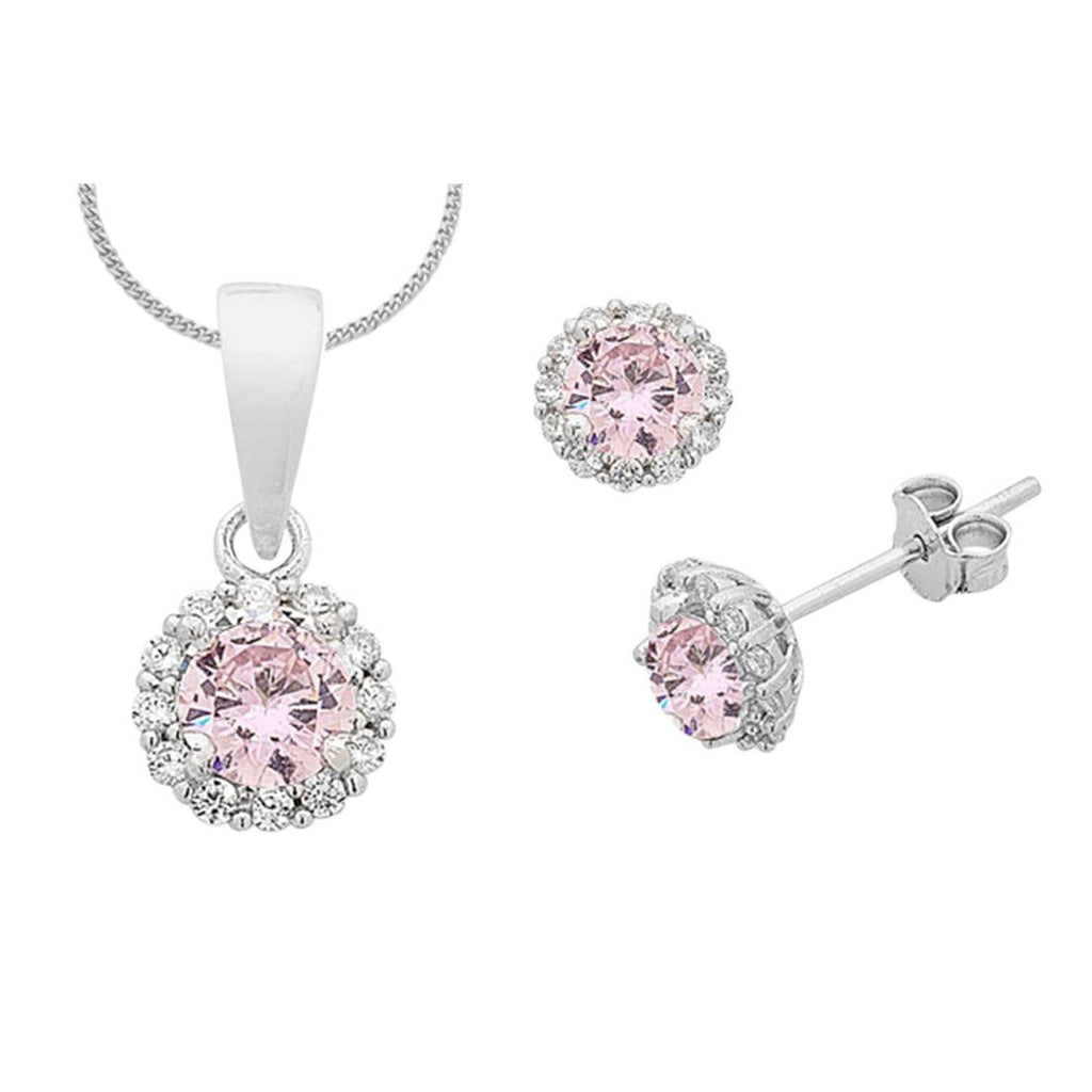 Sterling Silver Pink Curbic Zirconia Necklace and Earrings Set Necklaces Bevilles