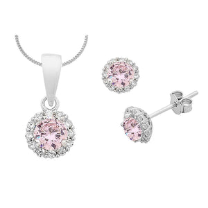 Sterling Silver Pink Curbic Zirconia Necklace and Earrings Set