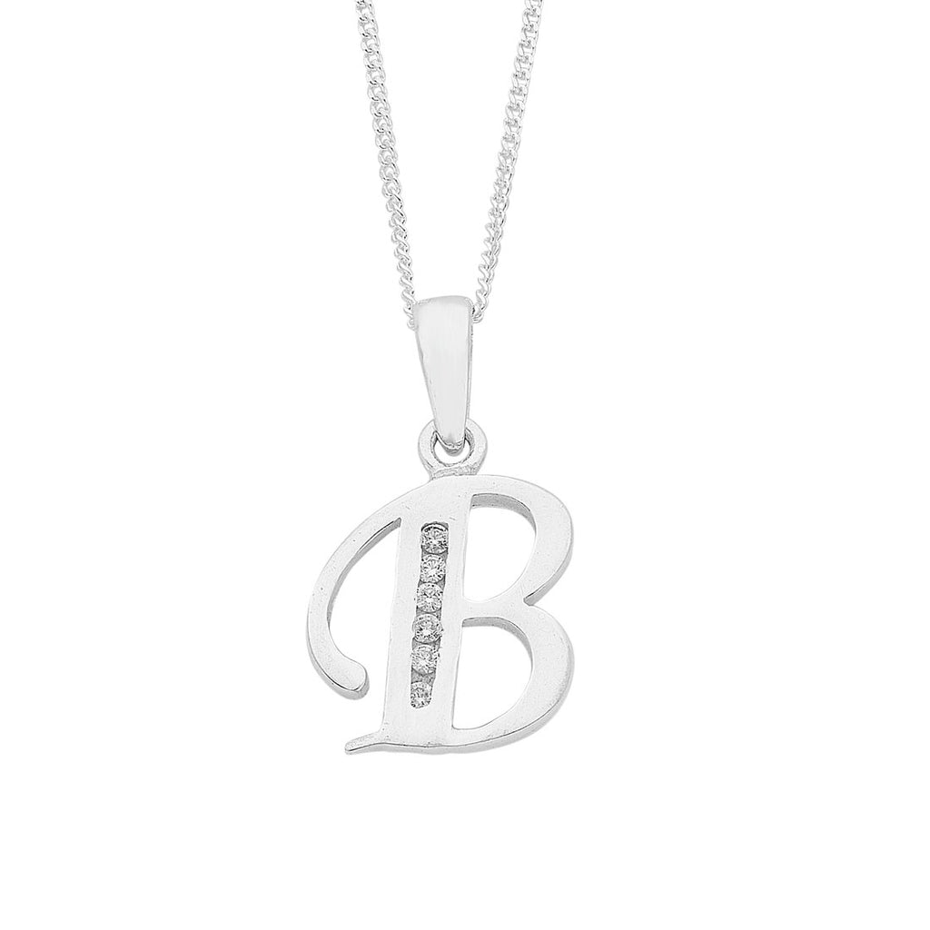 Sterling Silver Cubic Zirconia Initial Necklace Necklaces Bevilles