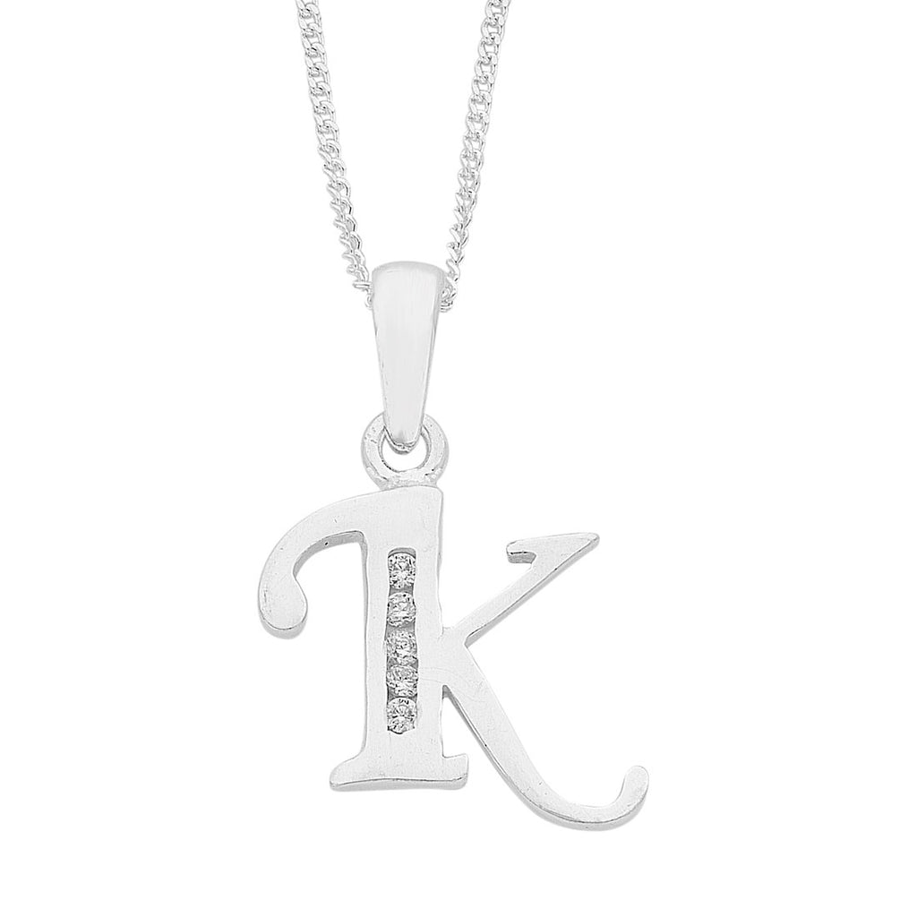 Sterling Silver Cubic Zirconia Initial Necklace