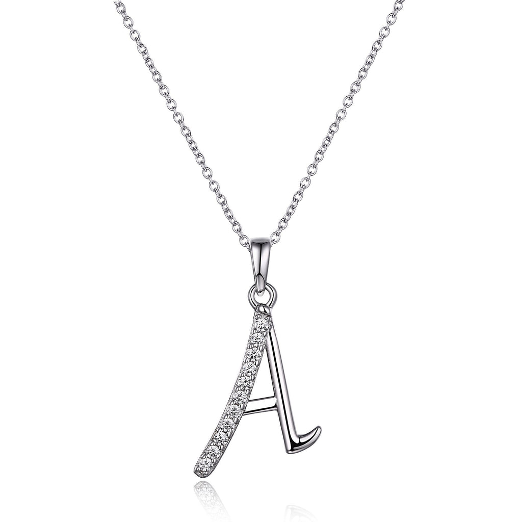 Sterling Silver Cubic Zirconia Initial Necklace - Most Initials Available Necklaces Bevilles A