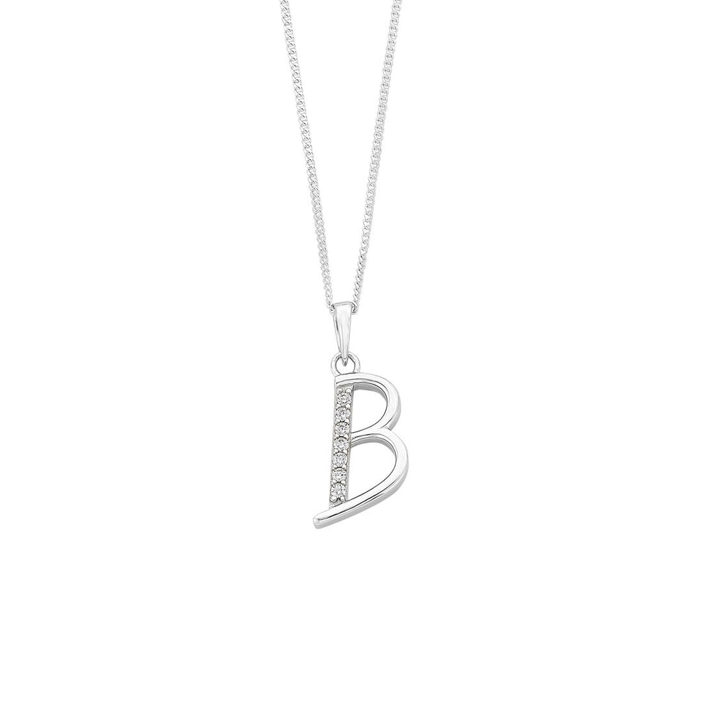 Sterling Silver Cubic Zirconia Initial Necklace - Most Initials Available Necklaces Bevilles B