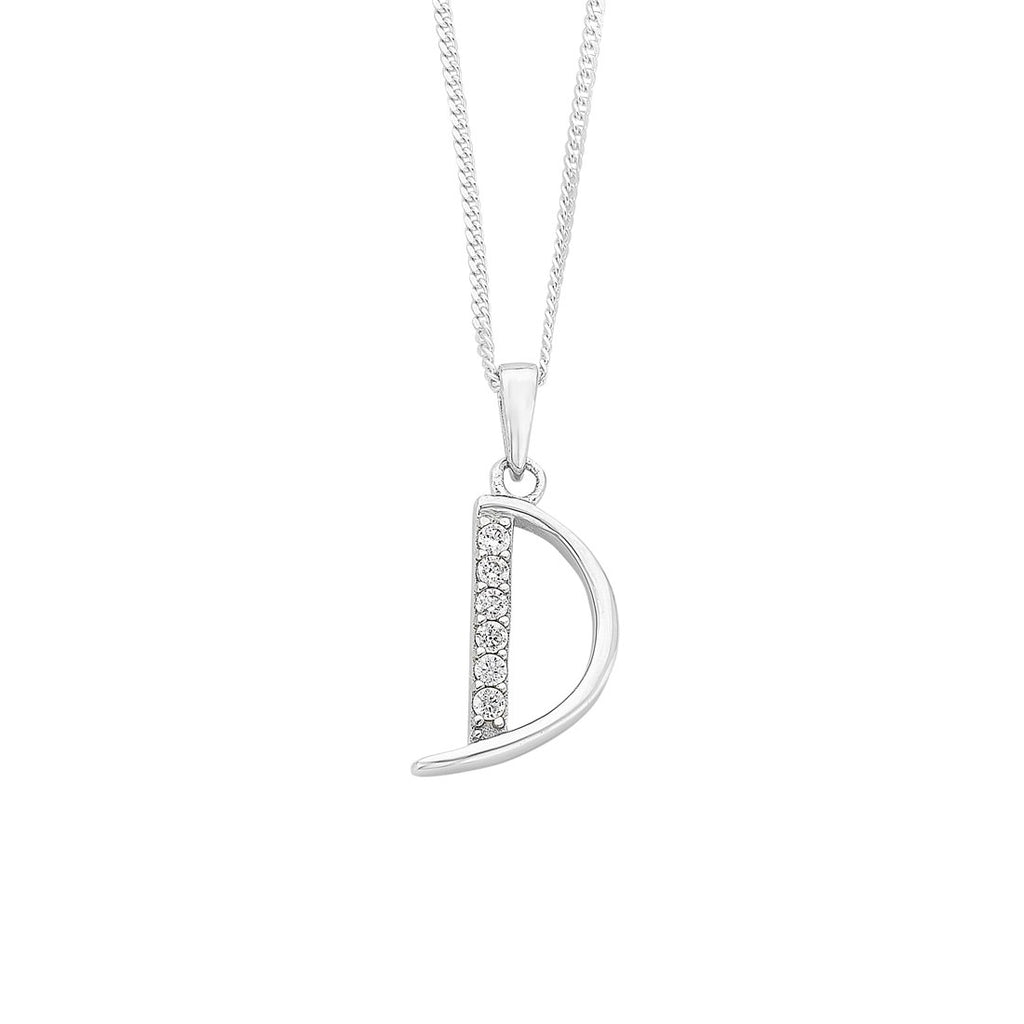 Sterling Silver Cubic Zirconia Initial Necklace - Most Initials Available Necklaces Bevilles D