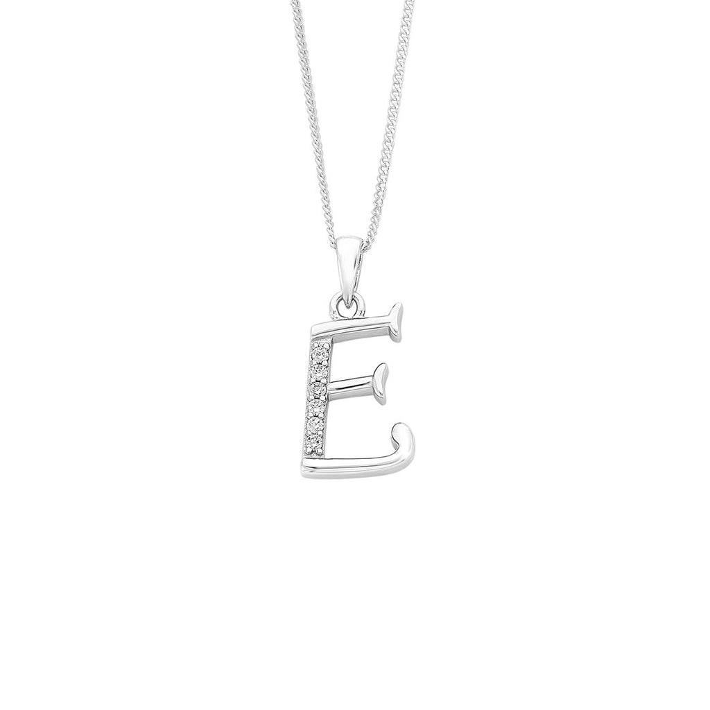 Sterling Silver Cubic Zirconia Initial Necklace - Most Initials Available Necklaces Bevilles E