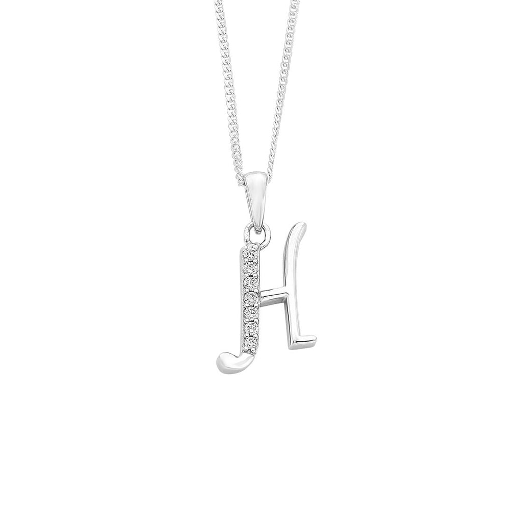 Sterling Silver Cubic Zirconia Initial Necklace - Most Initials Available Necklaces Bevilles H