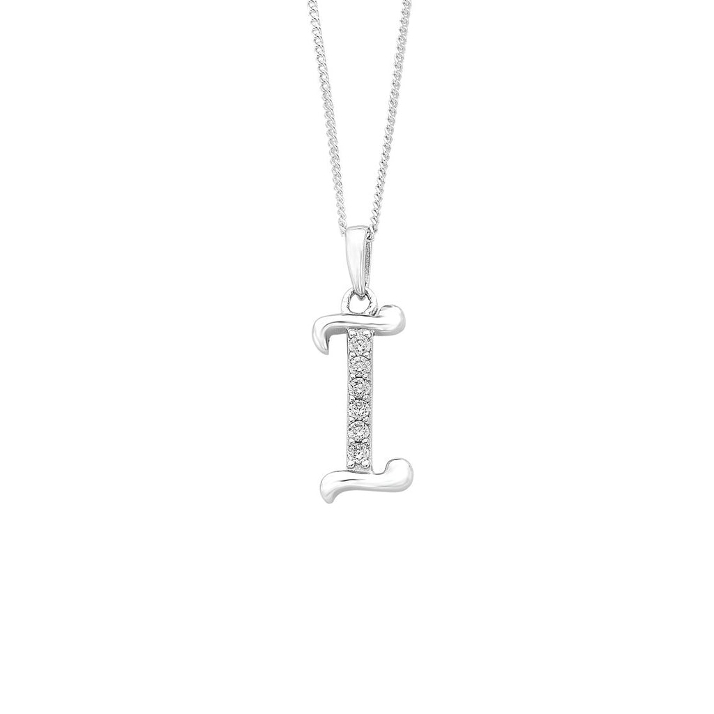 Sterling Silver Cubic Zirconia Initial Necklace - Most Initials Available Necklaces Bevilles I