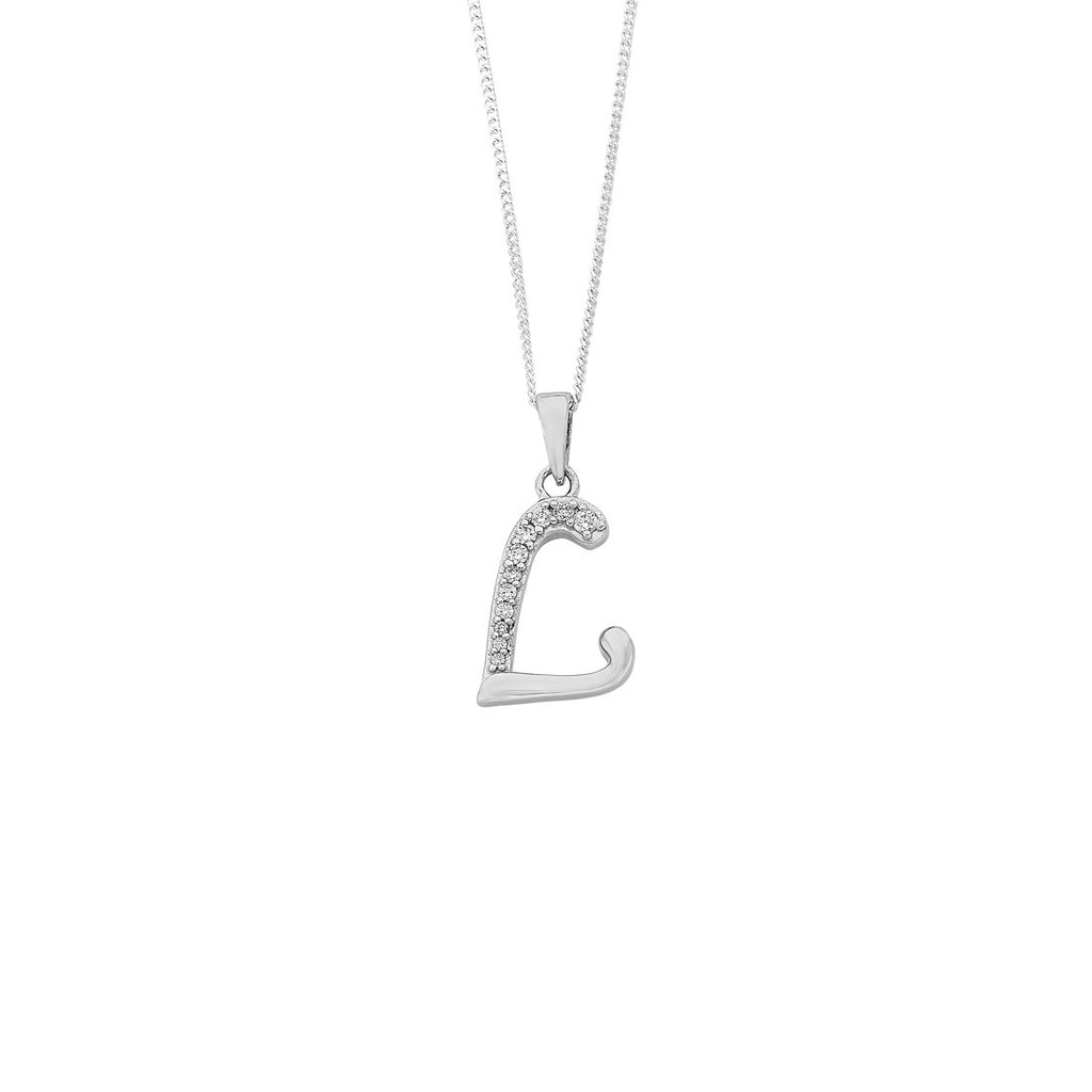 Sterling Silver Cubic Zirconia Initial Necklace - Most Initials Available Necklaces Bevilles L