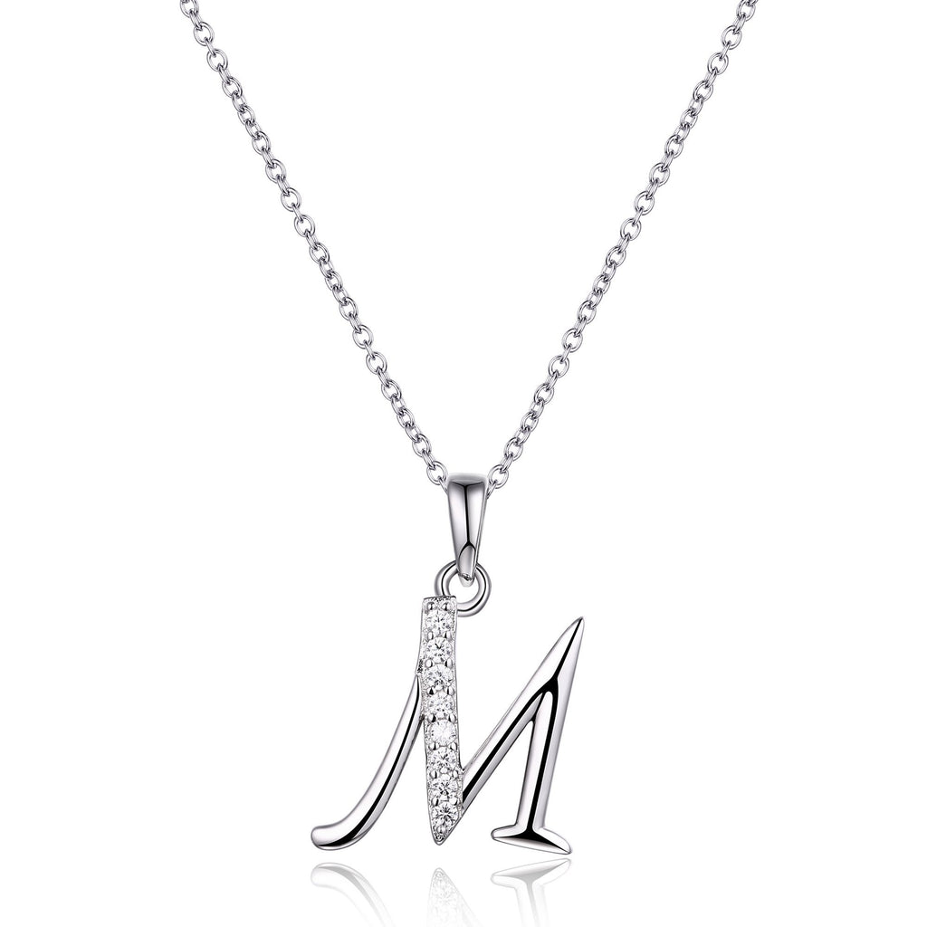 Sterling Silver Cubic Zirconia Initial Necklace - Most Initials Available Necklaces Bevilles M