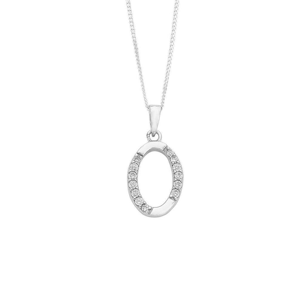 Sterling Silver Cubic Zirconia Initial Necklace - Most Initials Available Necklaces Bevilles O