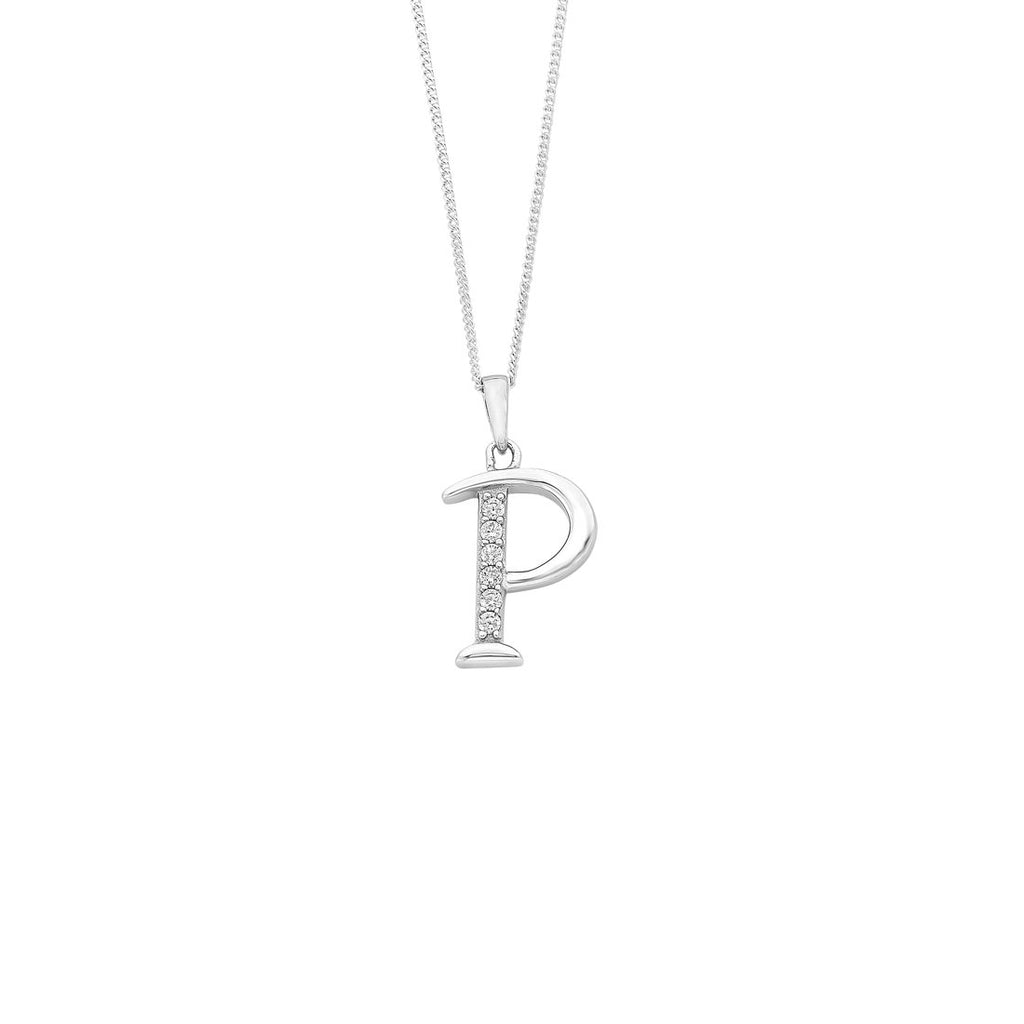 Sterling Silver Cubic Zirconia Initial Necklace - Most Initials Available Necklaces Bevilles P