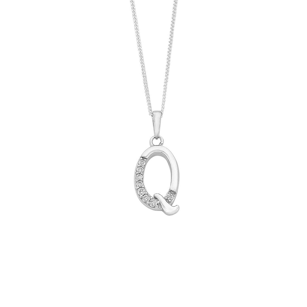 Sterling Silver Cubic Zirconia Initial Necklace - Most Initials Available Necklaces Bevilles