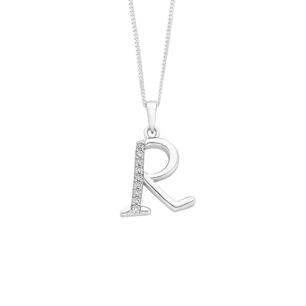 Sterling Silver Cubic Zirconia Initial Necklace - Most Initials Available Necklaces Bevilles R