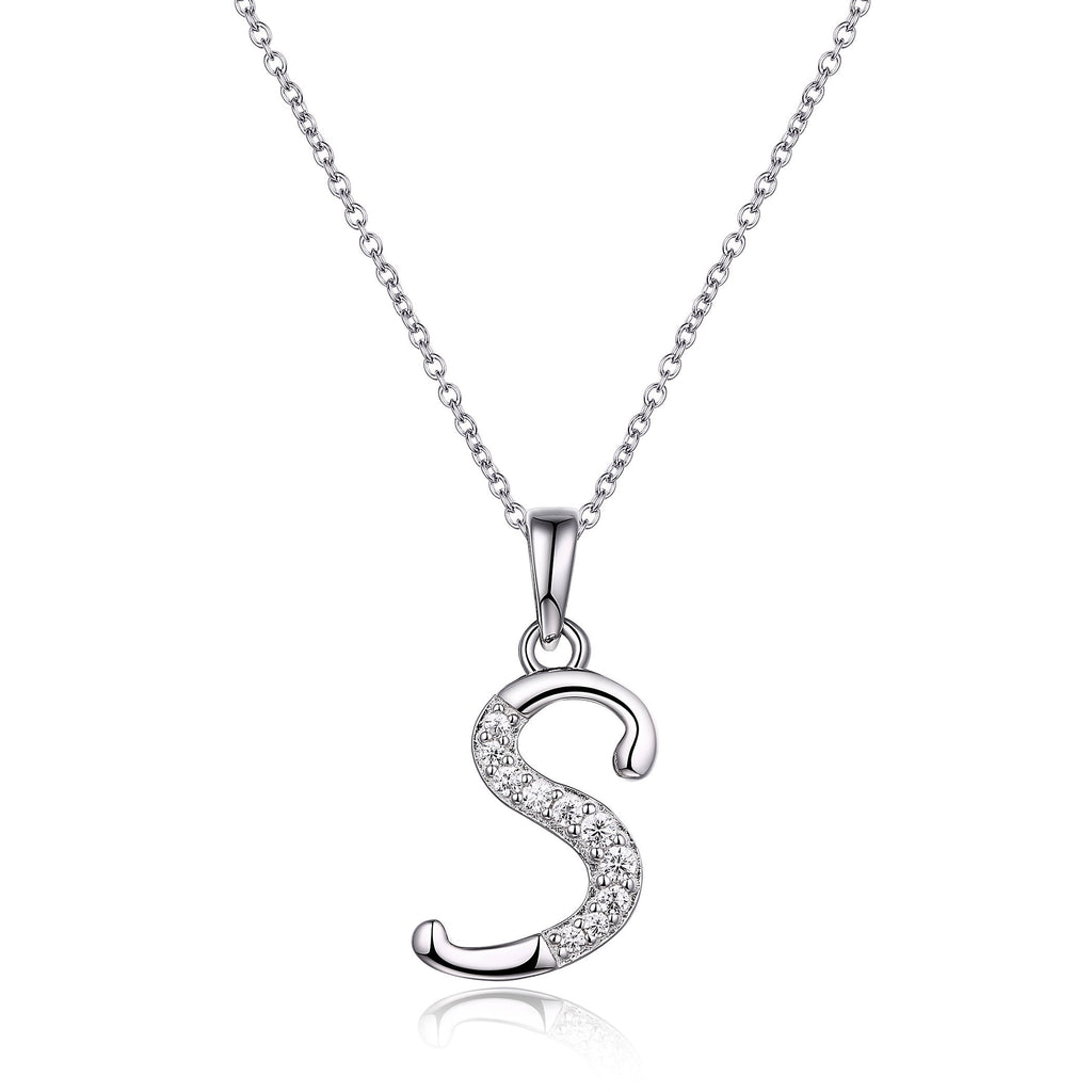 Sterling Silver Cubic Zirconia Initial Necklace - Most Initials Available Necklaces Bevilles S