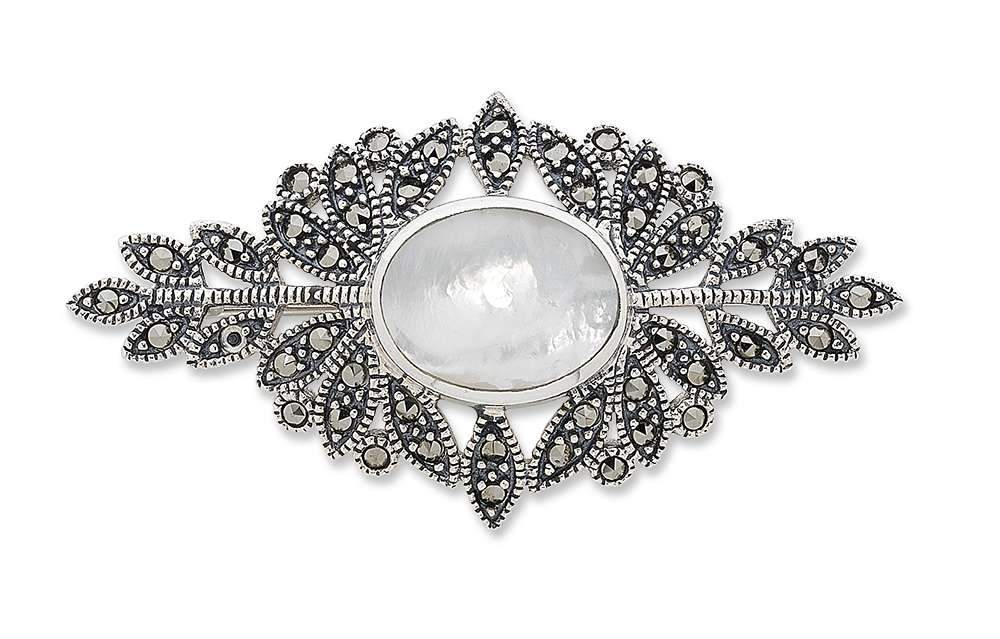 Sterling Silver Brooch with Mother of Pearl and Marcasite Brooch Bevilles