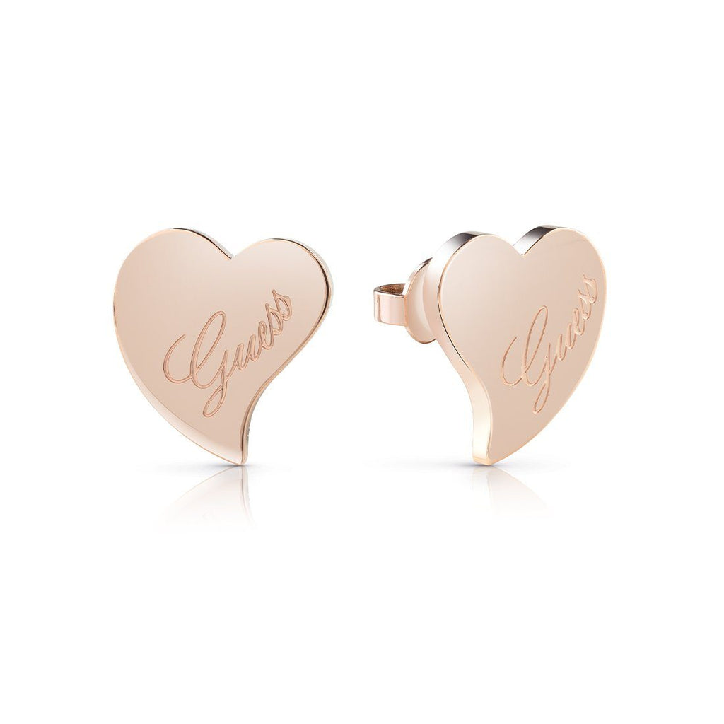 Guess Love Rose Gold Plated Guess Love Heart Stud Earrings Earrings Guess