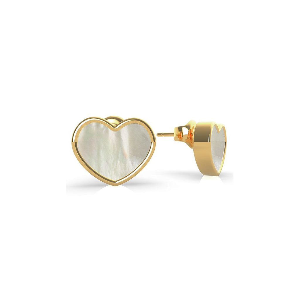 Sea Gift Gold Plated Mother Of Pearl White Heart Stud Earrings Earrings Guess