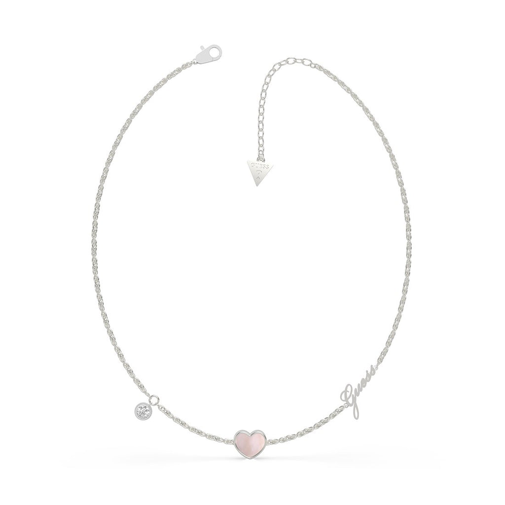 Sea Gift Rhodium Plated 16-18'' Mother Of Pearl Pink Heart & Crystals Necklace Necklaces Guess