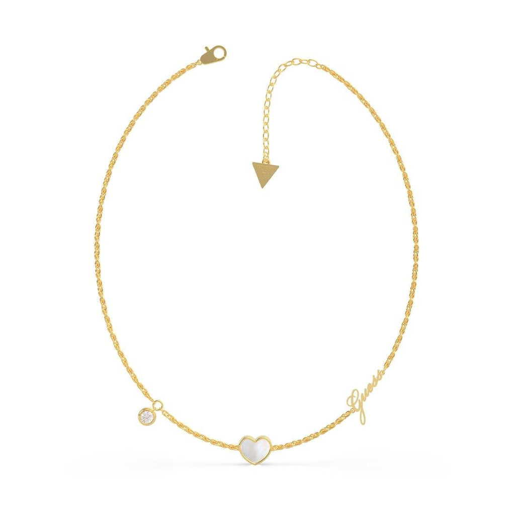 Sea Gift Gold Plated 16-18'' Mother Of Pearl White Heart & Crystals Necklace Necklaces Guess