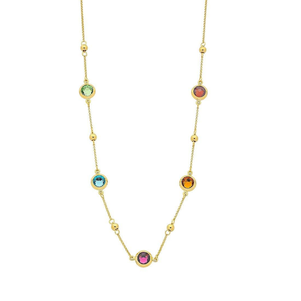 9ct Yellow Gold Silver Infused Multi Colour Crystal Necklace 50cm Necklaces Bevilles