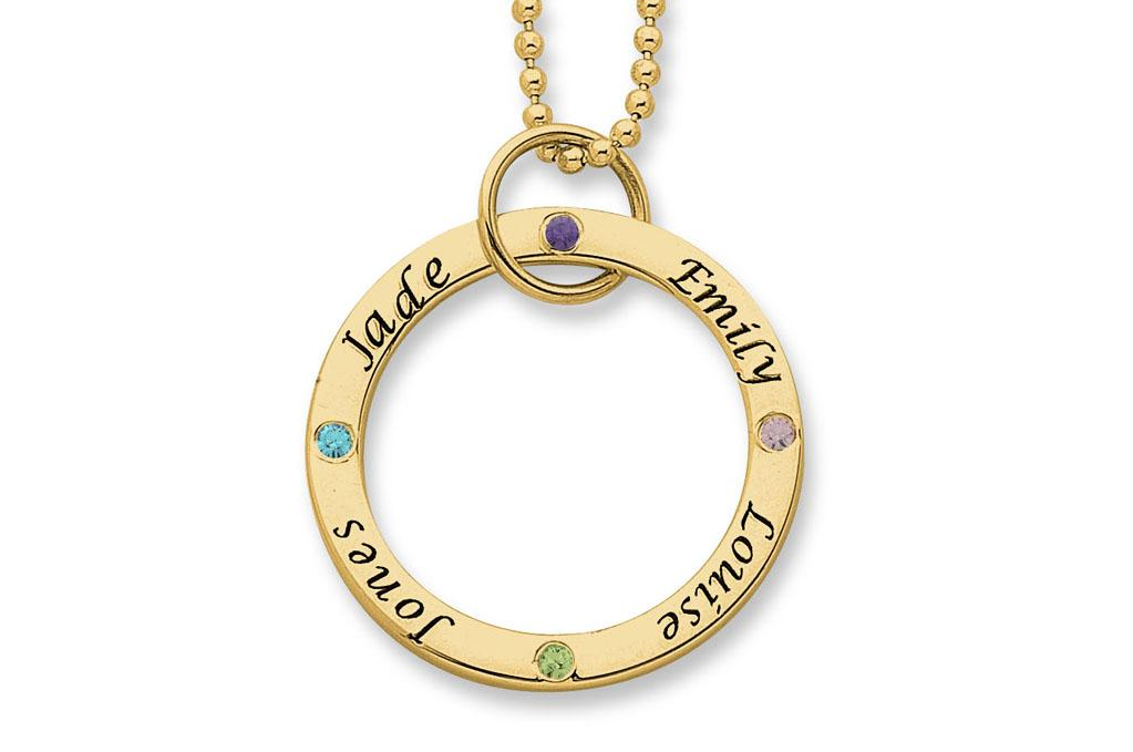 Personalised 9ct Yellow Gold Large Circle Stone Set Necklace Necklaces Bevilles