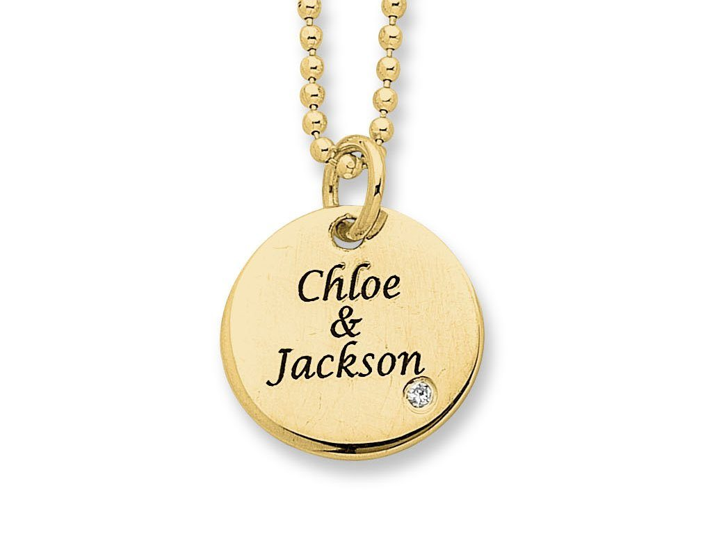 Personalised Birthstone or Diamond Disc Necklace 9ct Gold