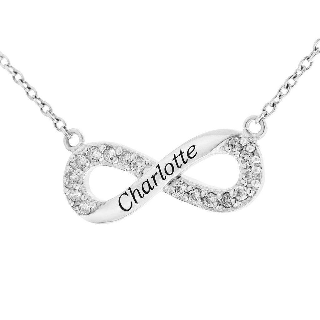 Personalised Sterling Silver Infinity Necklace Necklaces Bevilles